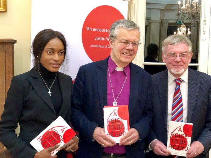 L-R: Kina Robertshaw, Bishop of Hereford Richard Frith, Richard Higginson